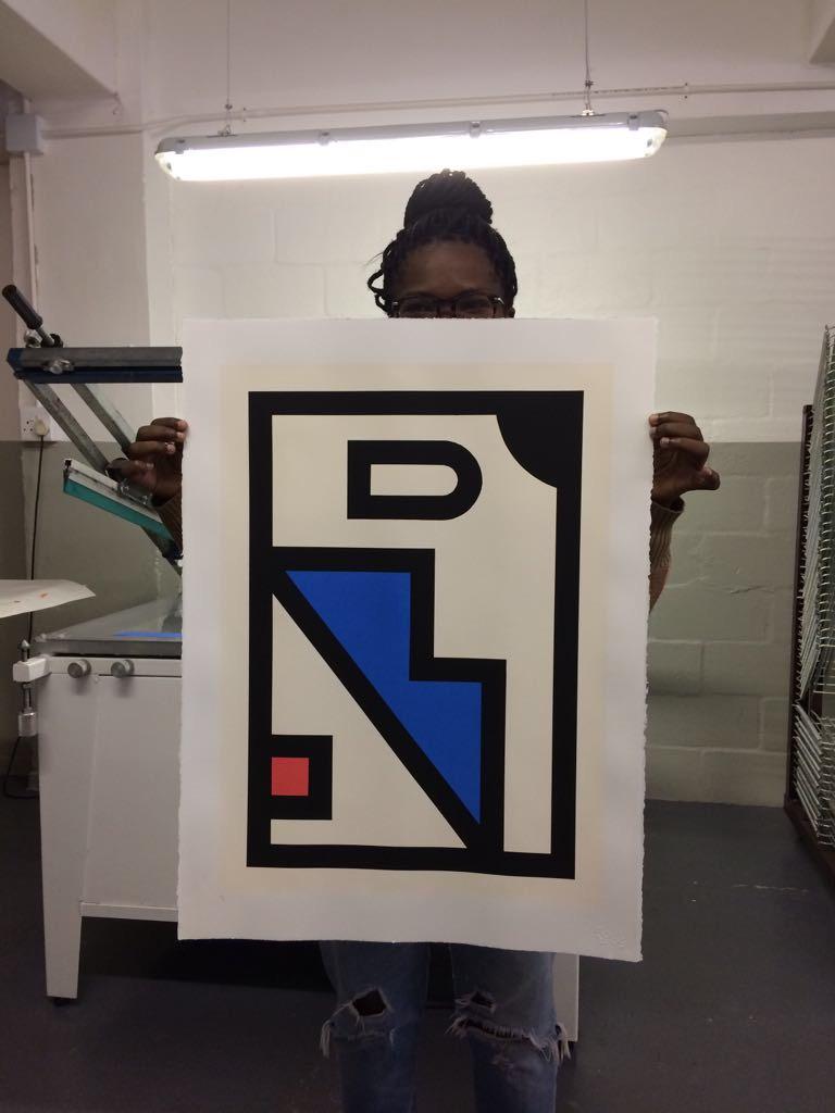 "Nkuli Mlangeni showing of her print ""Zenzile"""